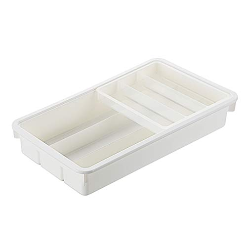 SHOW-WF Kitchen Drawer Dividers Cutlery Tray, Sliding 2-Tier Plastic Drawer Organizer for Utensils Knives/Spoon/Forks,31.9x18.5x5.9cm