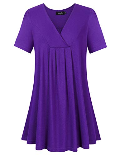 AMZ PLUS Women's Plus Size Flowy Tops V-Neck Loose Blouse Casual Tunic Shirt (2XL, Purple with Short Sleeve)