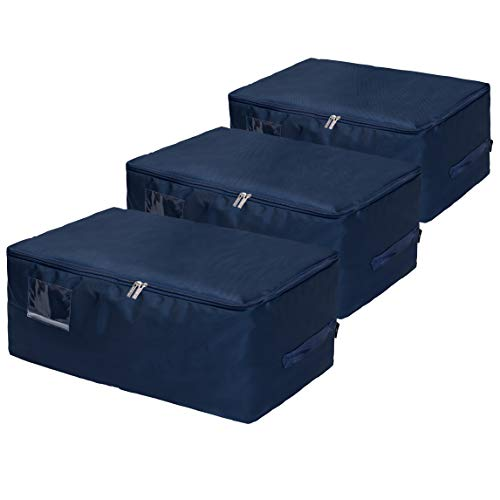 DOKEHOM DKA1014DBXXLG3 3-Pieces XX-Large Under Bed Storage Bag, Thick Ultra Size Fabric Clothes Bag, Moisture Proof (Dark Blue/XXL, Set of 3)