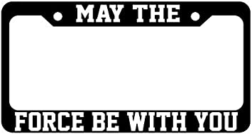 May The Force Be With You Star Wars Metal Chrome License Plate Frame