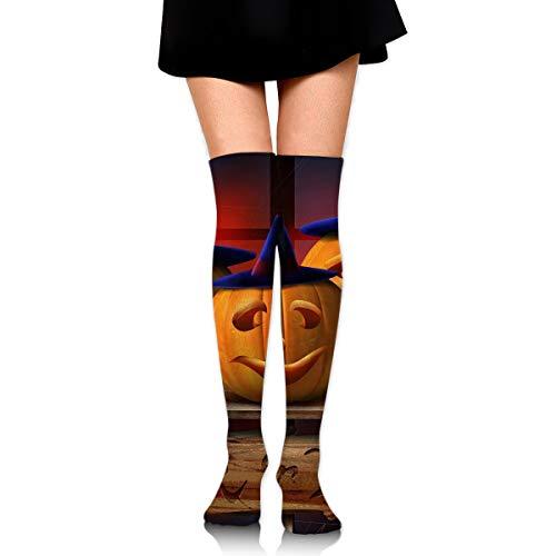 Gojdeyz Over Knee High Tube Stockings Halloween Trick Or Treat Pumpkins Long Tube Socks Compresson Socks for Women and Girls -