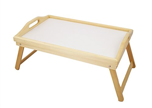 "ip-Top Adjustable Natural Wooden Laptop Bed Breakfast Tray/Table with Foldable Lap Stand-30 x 50 x 5 cm/11.8""W x 19.6""L x 2""H ()"