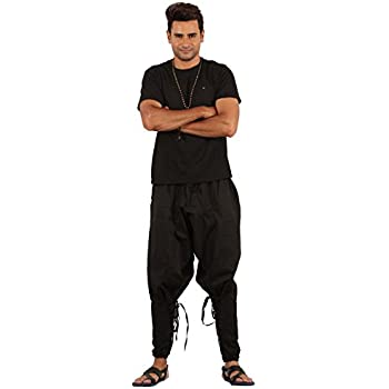 Mens Yoga Lightweight Cotton Handmade Harem Pants - Samurai Style (Black)