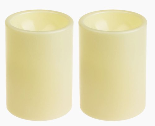 GiveU Flameless Outdoor LED Candle Set, Battery Operated Plastic Pillar Led Candle Light With Timer, 3 x 4, Ivory,Pack of 2 (Timer Plastic)