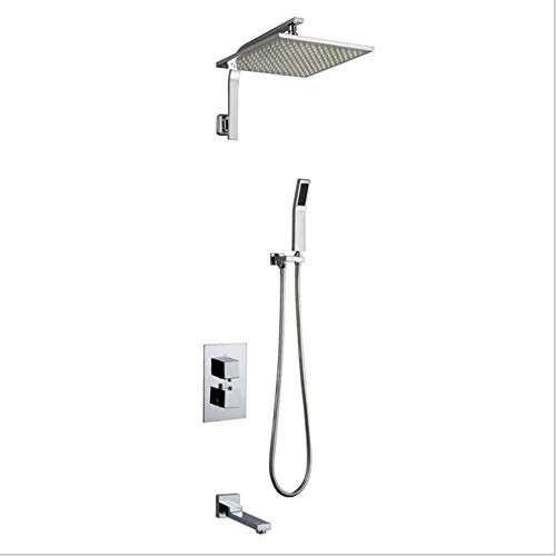 MICHEN Rain Shower Systems Wall Mounted Shower Combo Set with High Pressure 12 Inch LED Square Rain Shower Head and Handheld Shower Faucet Set (Chrome),12inch