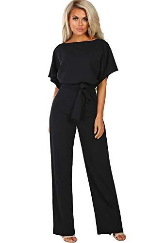 ALAIX Women's Casual Short Sleeve Jumpsuit Loose Wide Leg Long Pants Rompers with Waistband Black-XL (Linen Silk Belt)