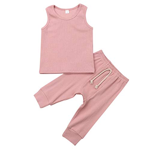 FEITONG Newborn Infant Baby Girls Solid Sleeveless Vest Top+Lace Up Leggings Pants Outfit Set Clothes(Pink,0-6M) -