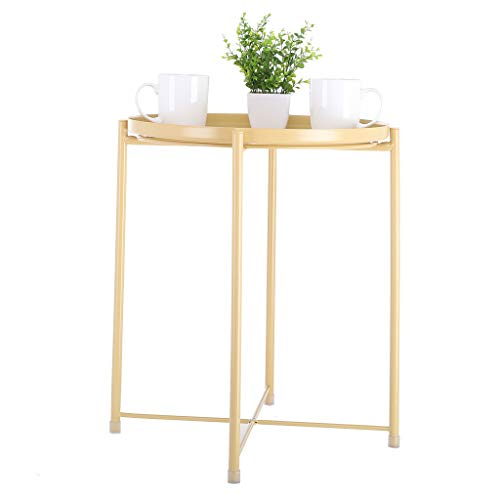 Sodoop Coffee Table, Tray Metal End Table, Sofa Table Small Round Side Tables,Anti-Rusty,Outdoor and Indoor Use for for Living Room Putting Small Things, Multi-use (Shipped by USA)