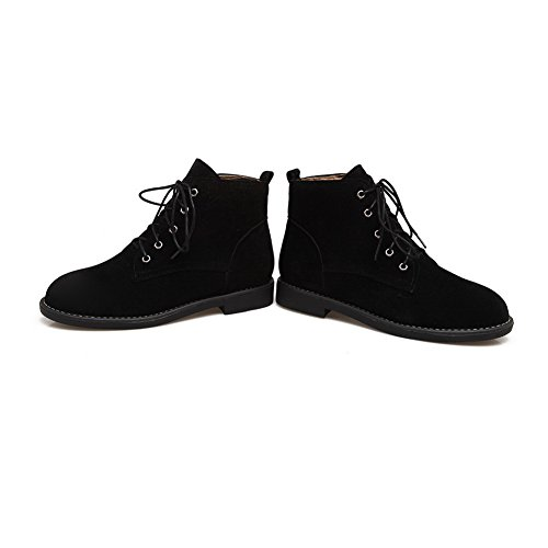 BalaMasa Womens Round-Toe Slip-Resistant Comfort Suede Boots ABL09939 Black N4Kzg6Sc