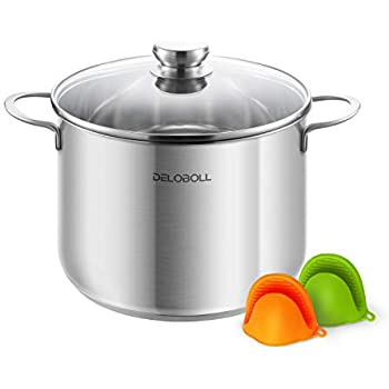 DELOBOLL 8.5 Quart Tri-Ply Covered Stainless Steel Stockpot TOP Standard, Multi-clad Base Induction Cookware, Dishwasher Safe Soup Pot with Lid + 2 Silicone ...