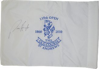 Padraig Harrington signed 2010 Open Championship 139th (British Open) Flag at Old Course at St Andrews Beckett Hologram