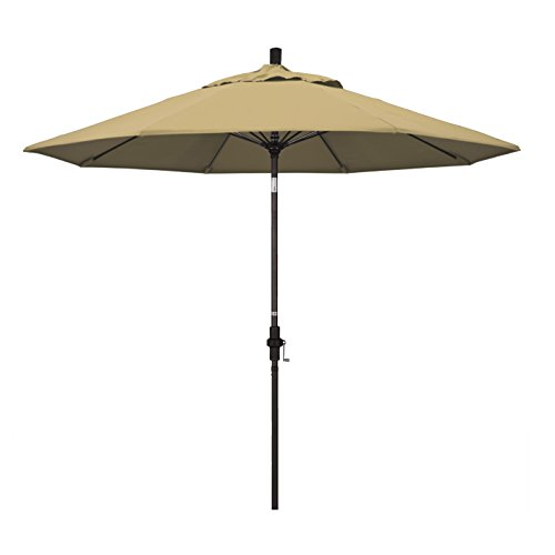 California Umbrella 9' Round Aluminum Pole Fiberglass Rib Market Umbrella, Crank Lift, Collar Tilt, Bronze Pole, Champagne Olefin