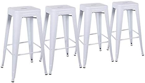 ABBLE 30 Inch Metal Bar Stools High Backless Stools Indoor Outdoor