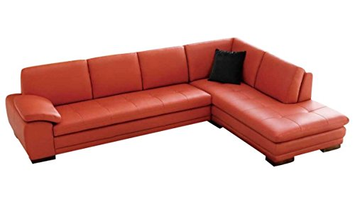 Bon Ju0026M Furniture 625 Pumpkin Colored Italian Leather Sectional Sofa With  Tufted Design In Right Hand Facing