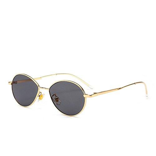 Sol JUNHONGZHANG Pequeños Marco De hoja de Metal ceniza Marcos Moda dorado Gafas Redondos De Golden Mujer Enmarcado Sol De Anteojos Pin Gafas Té P4xrf4