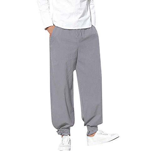 (BingYELH Mens Cotton Loose Joggers Casual Lounge Pajama Gym Workout Yoga Pants Drawstring Beach Pants with Tie Self Gray)