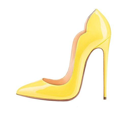EDEFS Tacco Classico Scarpe Giallo Chiuse Scarpa Donna High Davanti Ritaglio Heels col grqrEf