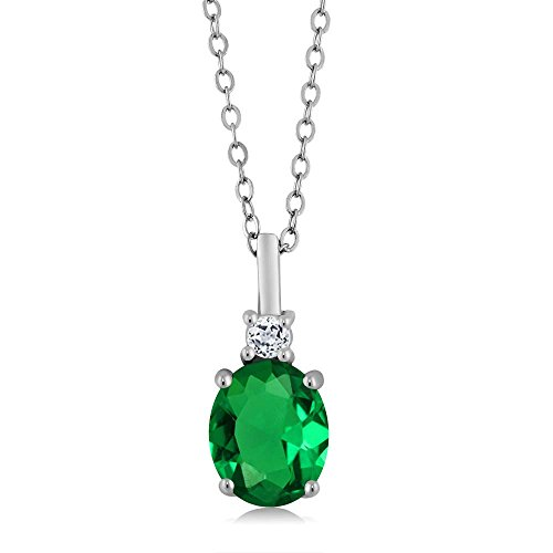 Gem Stone King 2.38 Ct Oval Green Simulated Emerald White Topaz 925 Sterling Silver -