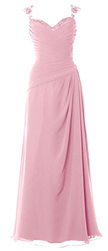 MACloth Women Cap Sleeves Long Mother of Bride Dress Open Back Party Formal Gown Petal Pink