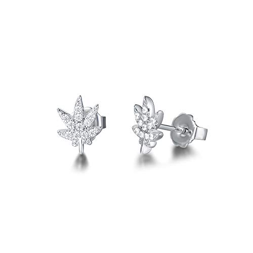 FANCIME White Gold Plated Cubic Zirconia CZ Tiny Small Maple Leaf Hypoallergenic Stud Earrings Fashion Jewelry Gift for Girls Women,Size 7X9mm (Leaf Earrings Studs)