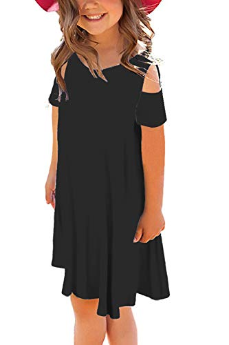storeofbaby Girls Casual Summer Dress Cold Shoulder Loose T-Shirts Dresses Pure Black