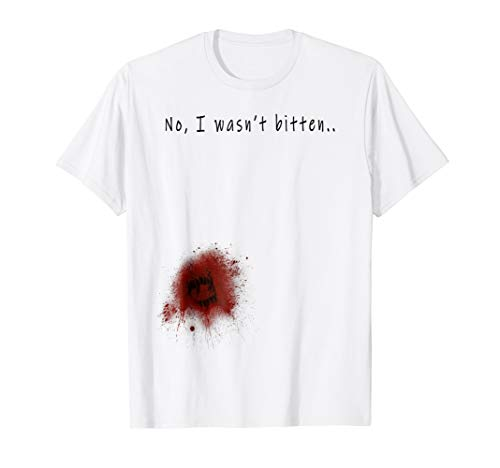 Funny Zombie Bite Halloween T shirt Bitten Injury Men -