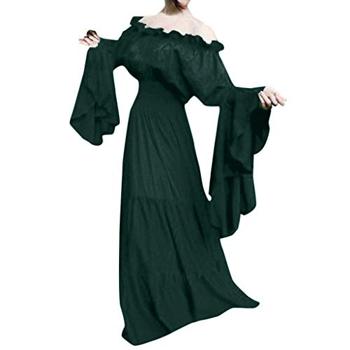WEISUN Women Retro Medieval Dress Renaissance Cosplay Vintage Party Club Elegante Maxi Dress Green -