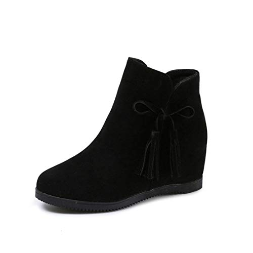 OHAYOU Women's Fashion Ankle Boots Suede Round Toe Bow Wedge Side Zipper Martin Boots Daily Wear Booties (Bow Lace Side Platform)