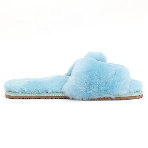 Sheepskin Open Fluff Sheep Acacia Touch Toe Slippers Women's Blue wYYItP