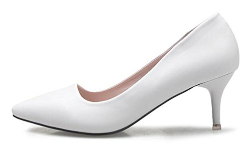 CHFSO Womens Comfy Stiletto Solid Pointed Toe Low Top Slip On Mid Heel Work Pumps Shoes White QIcYbvOoB