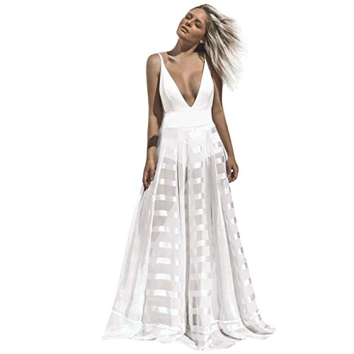(iCJJL Women's Sexy Deep V Neck Backless Spaghetti Strap Summer Maxi Dress Mesh Low Cut Sleeveless Flowy Party Long Dress White)