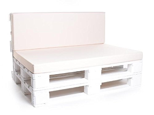 Palettenkissen, Gartenmöbel Auflagen, Sitzbankauflage, Matratzenauflagen auch m. Rückenlehne bzw. Dekokissen in Kunstleder creme, wasserabweisend und strapazierfähig