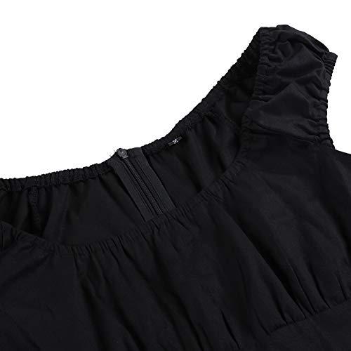 A Quadri Poule Plus Senza Patchwork Donna In Size Cotone Estivo De Maniche Abito Vestito Pied Casual Black Wdbxn 4xl Vintage qO46g4