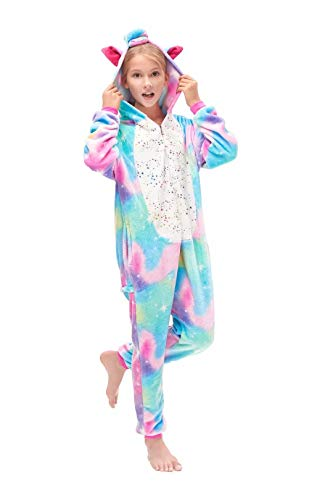 Halloween Animal Costumes For Kids (Kids Animal Onesie Unicorn Costume Christmas Halloween Cartoon Cosplay Pajamas 6 Years Iron Gold)