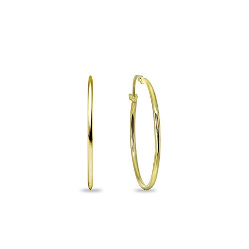 14K Yellow Gold 3/4 Inch Diameter Thin Lightweight Round Hoop Earrings ()