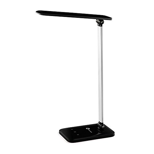 TaoTronics TT-DL08 LED Desk Lamp, Dimmable LED Table Lamp, Cool White Reading Light, Eye-caring Book Light (3-Level Dimmer, Touch-Sensitive Control, Night Light, Glossy Black, 6W) by TaoTronics