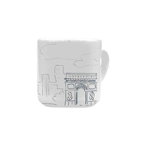 Paris Decor White Heart Shaped Mug,Sketch of the City with I Love Paris Lettering Fashion Center Europe Modern Lifestyle for Home,2.56