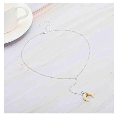 - Olbye Moon Drop Necklace Ox Horn Necklaces Choker for Women and Girls Minimalist Y Necklace Choker (Silver)