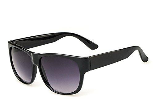Iridium Lens Unisex Sunglasses - Flowertree Unisex Iridium Mirrored Lens Wide Arm Wayfarer 58mm Sunglasses (black/ grey)