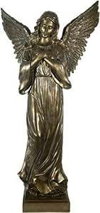 Prosperplast en Y Exterior Ángel rezando sobre zócalo 95cm Bronce Angel figura Jardín Figura