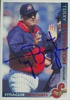 Terry Bevington Syracuse Skychiefs - Blue Jays Affiliate 1998 Grandstand Autographed Card - Minor League Card. This item comes with a certificate of authenticity from Autograph-Sports. Autographed