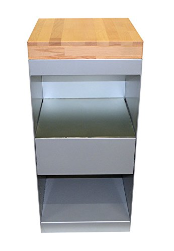 Spa Trolley with Butcher Block Top and 2 Shelves / Portable Storage Cabinet (Salon Storage Solutions)