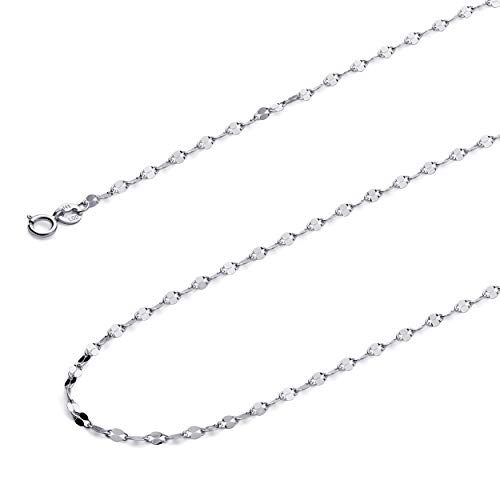 Wellingsale 14k White Gold SOLID 2mm Polished Twisted Mirror Chain Necklace with Spring Ring Clasp - 18