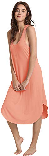 NEIWAI Women's Sleep Dress Long Bamboo Viscose Nightgowns Sleepwear Orange 2X