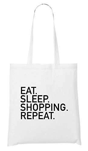 Eat Sleep Shopping Repeat Bag White