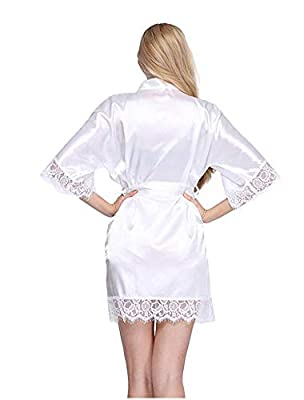 baqijian Wedding Dressing Gown Women Bride Robe Lace Silk Bathrobe Bridesmaid Nightwear Plus Size