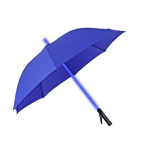 Price comparison product image Lightsaber Umbrella JTTVO Windproof Umbrella 8 Ribs with Color Changing Led Light On the Shaft Lightweight Umbrella for Travel Unique Gifts for Her Him (Blue)