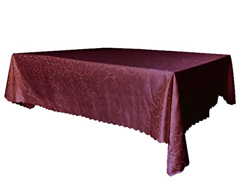 Msmsse Rectangle Jacquard Tablecloth Polyester Fabric Damask Tablecloth Wrinkle-Free Stain Resistant Coffee 60x84in