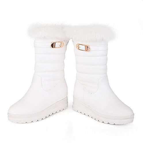 AmoonyFashion M with Button Toe Solid heels White Womens Low 5 Round Boots Synthetic US B Closed 5 Leather rarwpP