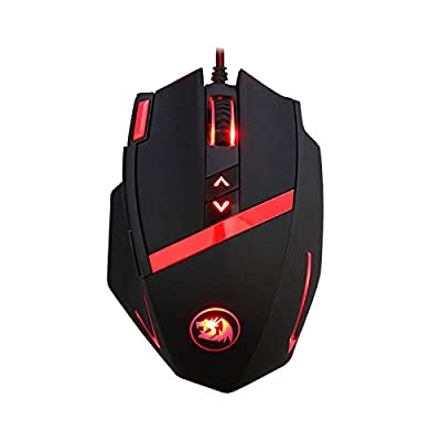 Redragon M801 Gaming Mouse, Wired MMO RGB LED Backlit, Mammoth, 16400 DPI Laser Sensor & Omron Switches with Weight Tuning Set & 9 Programmable Buttons for Windows PC Gamers